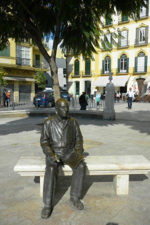 Picasso Museum has made a monument for Picasso at Plaza de la Merced